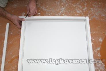 Установка двери (разметка поперечной планки)