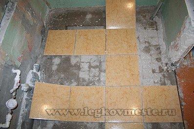 Укладка плитки на пол (размечаем расположение рядов)1