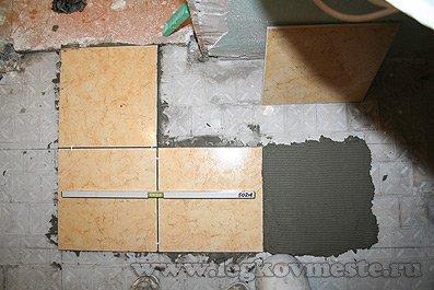 Укладываем первые плитки 1