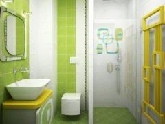 Дизайн ванной в зеленых и белых тонах