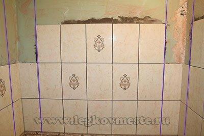 Кафель на стены - разметка вертикальных рядов