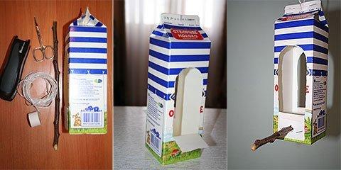 Кормушка для птиц из молочного пакета
