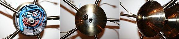 Собираем корпус люстры ставим нижнюю крышку