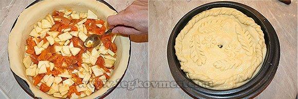 Как приготовить пирог с яблоками и курагой