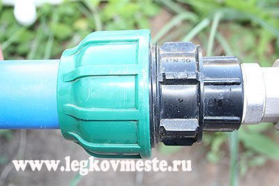 Переход с разводящей трубы на систему водопровода