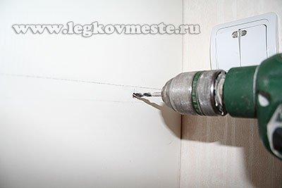 Сверление отверстия в стенке шкафа