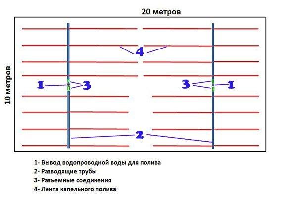Схема системы капельного полива огорода