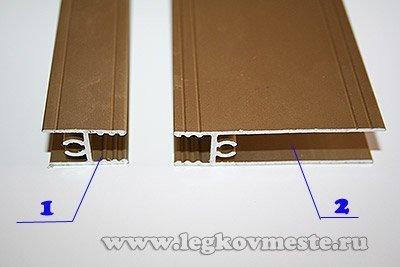Горизонтальные профили обрамления двери шкафа купе