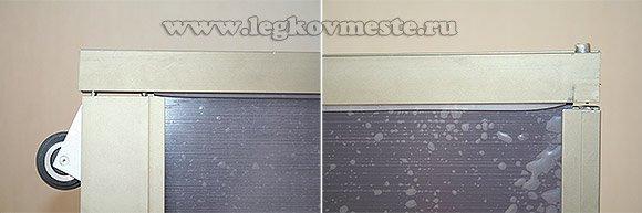 Соединяем вертикальную и горизонтальные планки обрамления двери шкафа купе