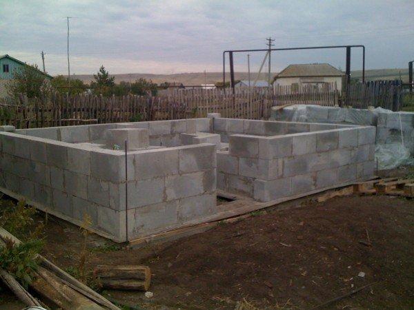 стены бани из блоков
