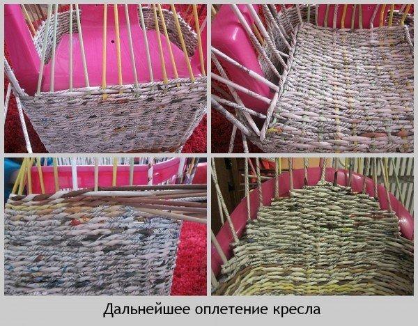 Мебель из газетных трубочек