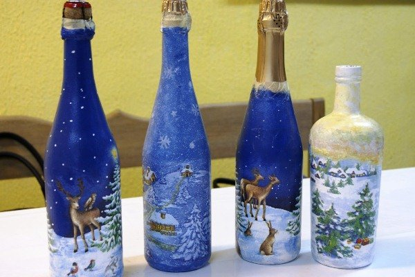 новогодний декор бутылок