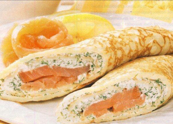 блинчики с сыром и сёмгой