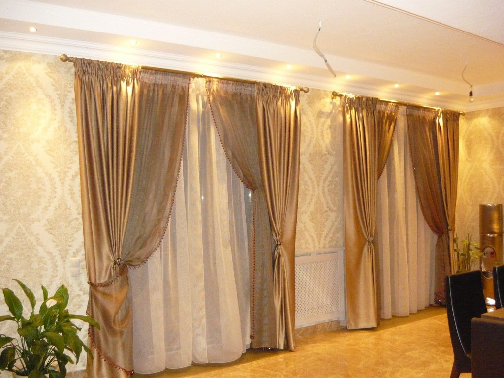 Дневные шторы дизайн для зала