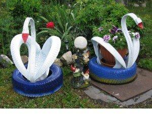лебеди из покрышки