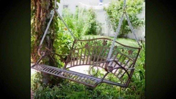 качели-скамейка из металла