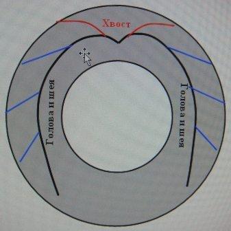 Схема изготовления лебедя из покрышки