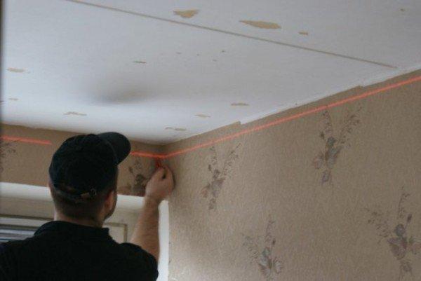 разметка стены под двухуровневый потолок