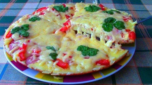 пицца приготовленная на сковороде