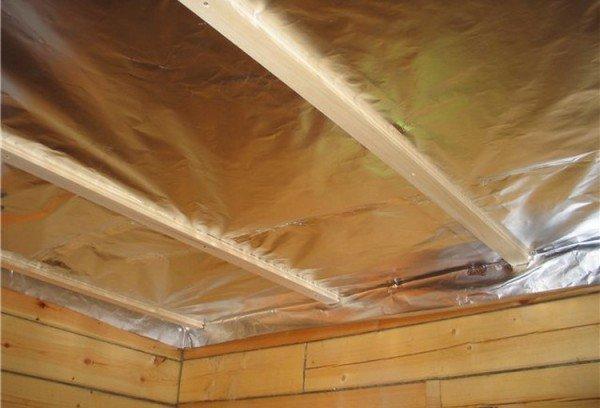 Термоизоляция потолка в бане