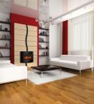 настенный электрокамин в красно-белой комнате