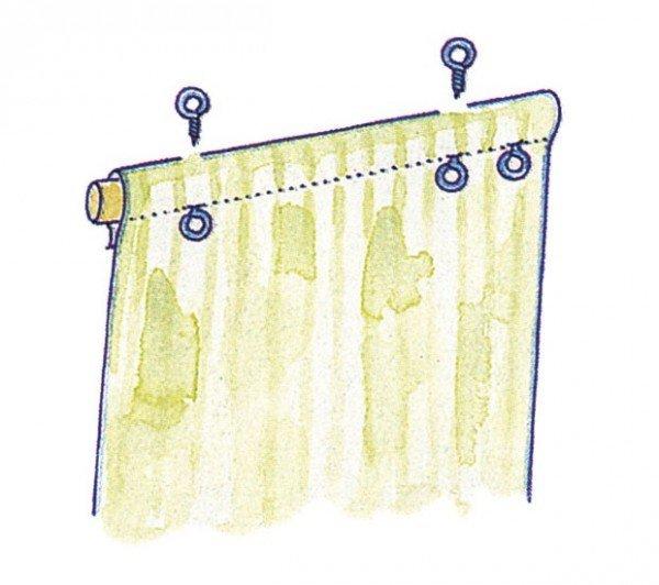 Установка колец-держателей на штору