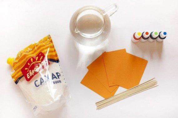 вода. сахар, бумага и палочки