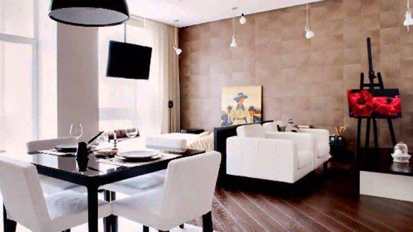 зонирование комнаты с высокими потолками