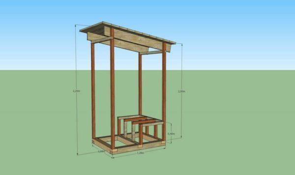 Каркас дачного туалета из дерева