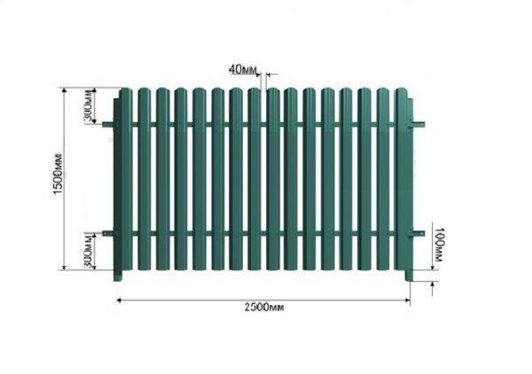 Монтажная схема секции деревянного забора