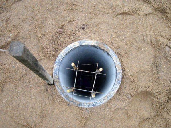 Установка опалубки для столбчатого фундамента