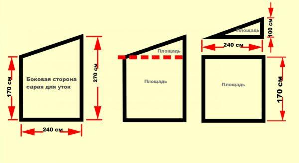 Схема для вычисления площади боковых сторон сарая для уток