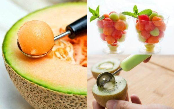 Использование ложки-нарезки для фруктов