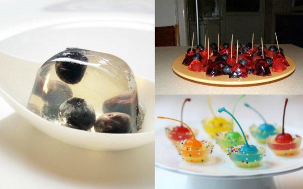 Варианты фруктового желе на шпажках