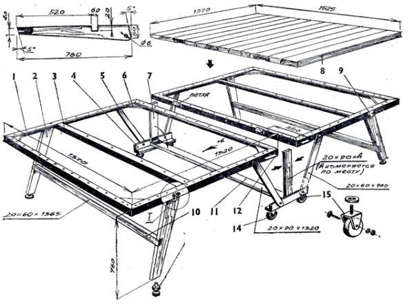 чертеж складного тенисного стола