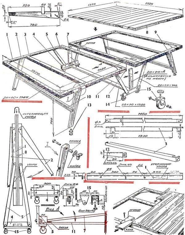 чертеж складной модели теннисного стола
