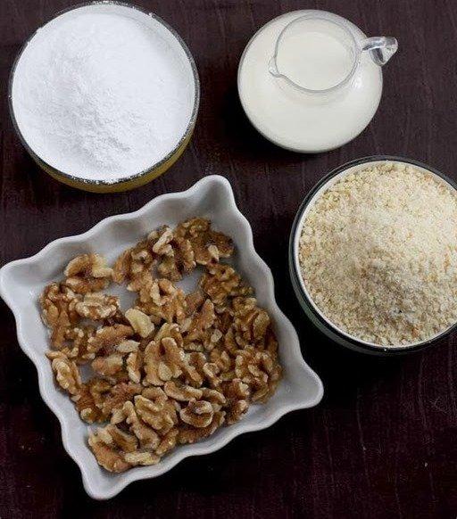 Ингредиенты для туррона со сливками и орехами