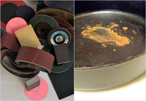 Наждачная бумага для чистки чугунной сковороды