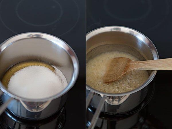 Приготовление карамели из мёда и сахара