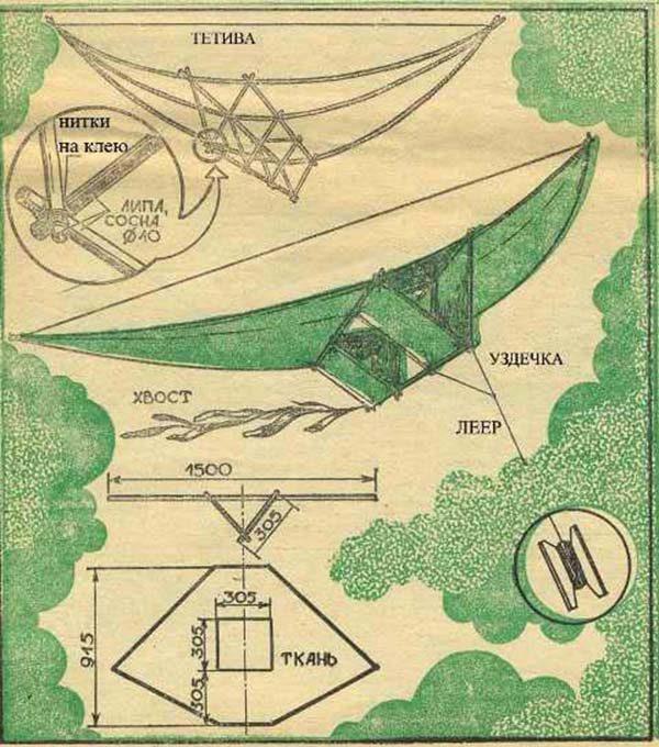 Схема воздушного змея «Птица»
