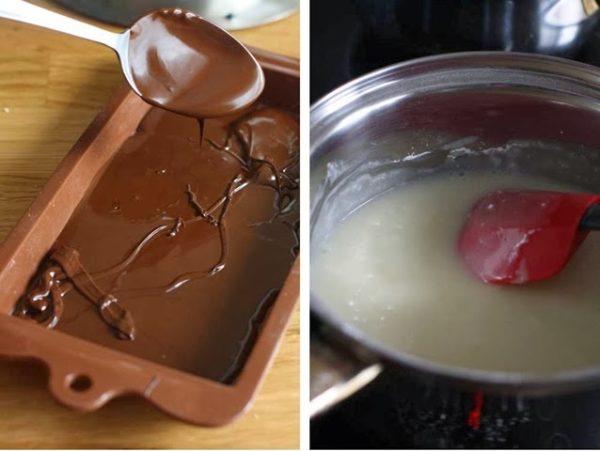 Шоколадная основа и сливки для туррона