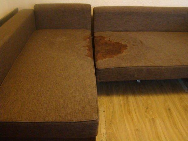 Старые пятна от мочи на диване