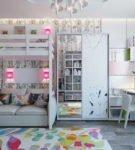 Кровать-чердак с диваном на нижнем ярусе
