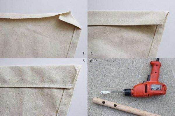 Формирование углов текстильной заготовки и обработка деревянной палки