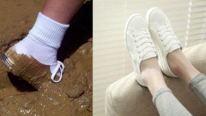 Грязная белая обувь