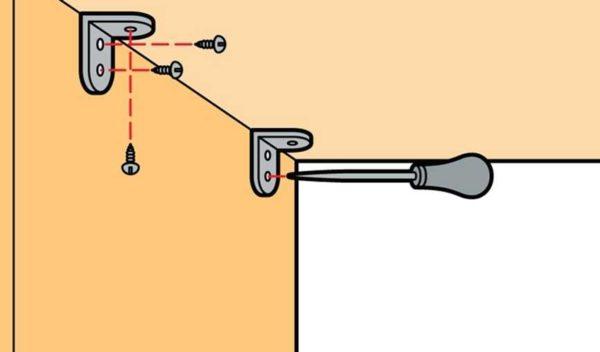Крепление панелей с помощью металлических уголков