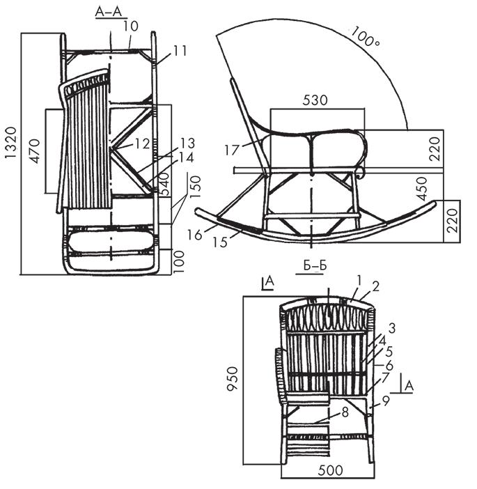 Как изготовить кресло качалку своими руками из дерева чертежи и размеры