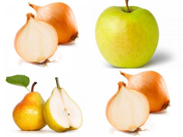 Лук репчатый, яблоко, груша