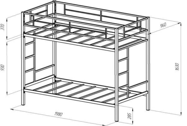 Чертёж металлической двухъярусной кровати