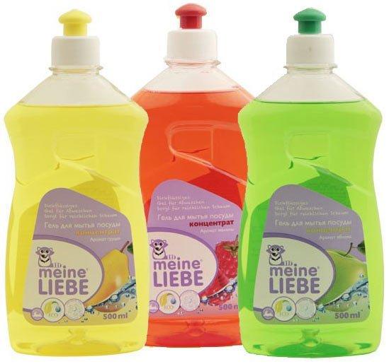3 флакона с гелем для мытья посуды жёлтого, красного и зелёного цветов